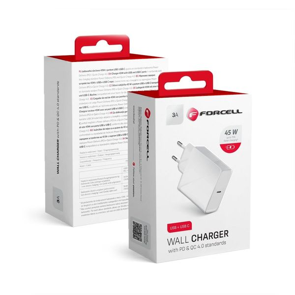Forcell 3A 45W PD- ja Quick Charge 4.0 USB-C